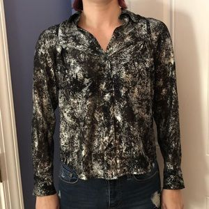 Metallic Button Up Blouse by Michael Kors